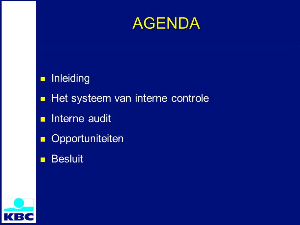 AGENDA Inleiding Het systeem van interne controle Interne audit Opportuniteiten Besluit