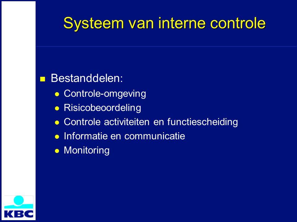 Systeem van interne controle Bestanddelen : Controle-omgeving Risicobeoordeling Controle activiteiten en functiescheiding Informatie en communicatie Monitoring