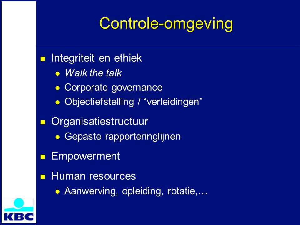 """Controle-omgeving Integriteit en ethiek Walk the talk Corporate governance Objectiefstelling / """"verleidingen"""" Organisatiestructuur Gepaste rapporterin"""