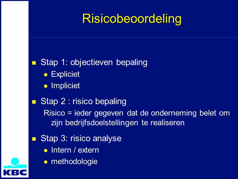 Risicobeoordeling Stap 1: objectieven bepaling Expliciet Impliciet Stap 2 : risico bepaling Risico = ieder gegeven dat de onderneming belet om zijn bedrijfsdoelstellingen te realiseren Stap 3: risico analyse Intern / extern methodologie