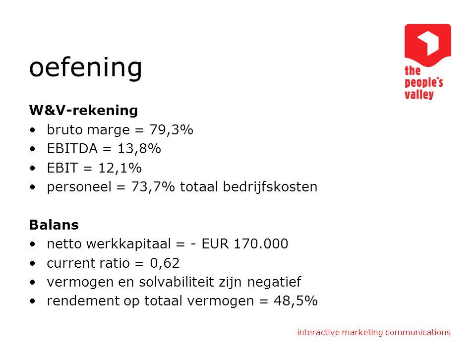 oefening W&V-rekening bruto marge = 79,3% EBITDA = 13,8% EBIT = 12,1% personeel = 73,7% totaal bedrijfskosten Balans netto werkkapitaal = - EUR 170.00