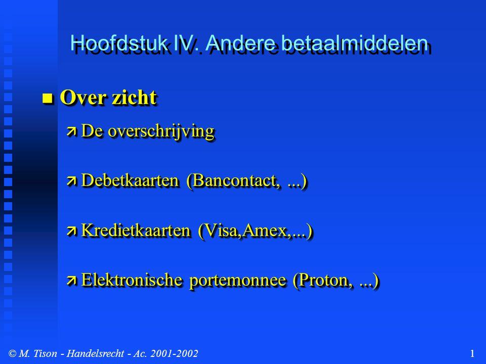 © M. Tison- Handelsrecht - Ac. 2001-20021 Hoofdstuk IV.