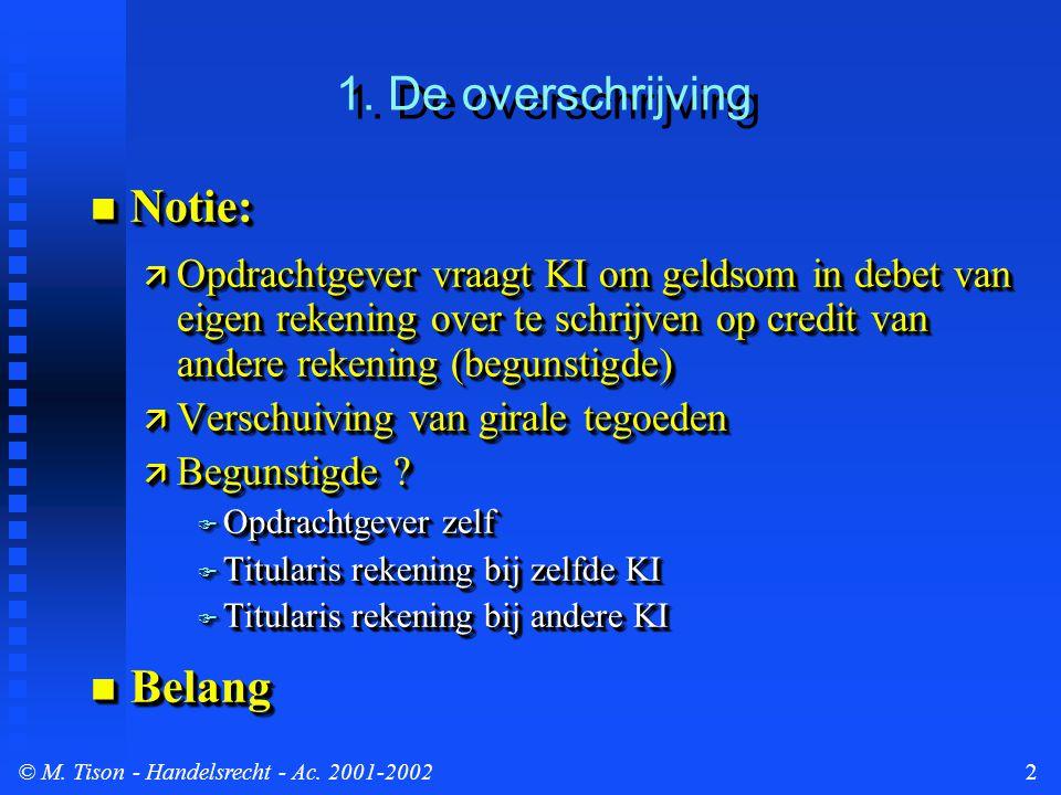 © M.Tison- Handelsrecht - Ac. 2001-20023 1. De overschrijving...