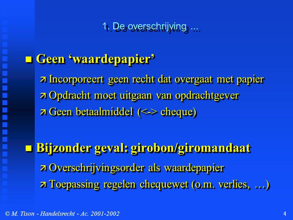 © M. Tison- Handelsrecht - Ac. 2001-20024 1. De overschrijving...