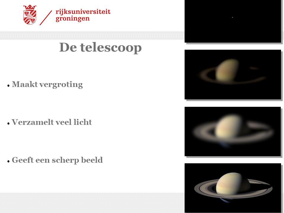 23/12/09 | 2 De telescoop Maakt vergroting Verzamelt veel licht Geeft een scherp beeld
