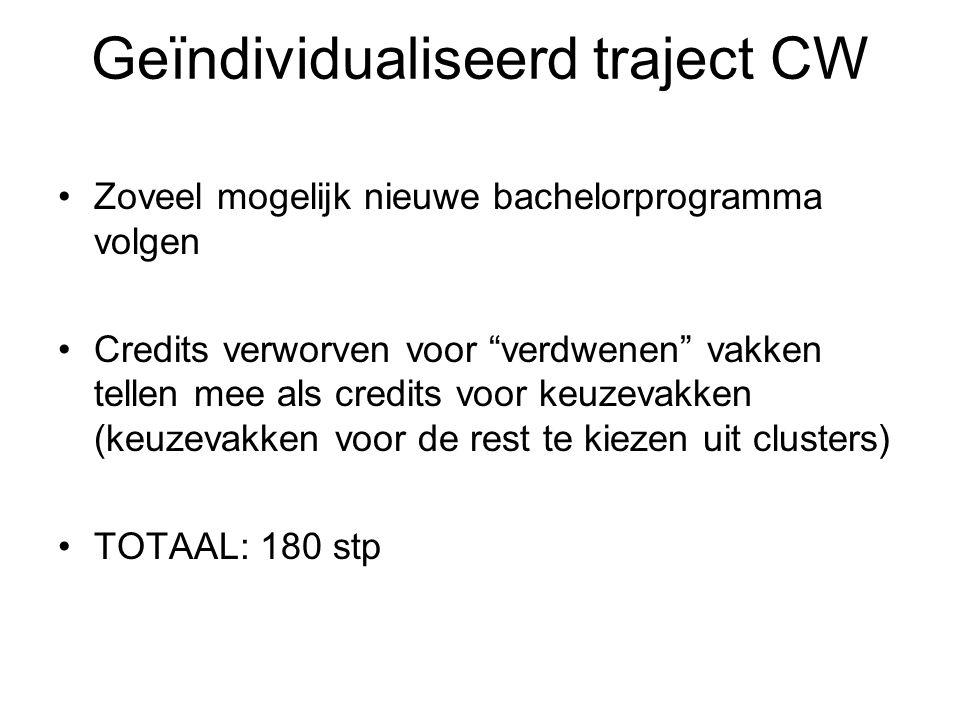 Geïndividualiseerd traject CW Zoveel mogelijk nieuwe bachelorprogramma volgen Credits verworven voor verdwenen vakken tellen mee als credits voor keuzevakken (keuzevakken voor de rest te kiezen uit clusters) TOTAAL: 180 stp