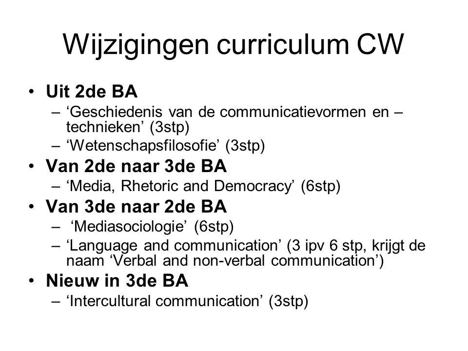 Wijzigingen curriculum CW Uit 2de BA –'Geschiedenis van de communicatievormen en – technieken' (3stp) –'Wetenschapsfilosofie' (3stp) Van 2de naar 3de BA –'Media, Rhetoric and Democracy' (6stp) Van 3de naar 2de BA – 'Mediasociologie' (6stp) –'Language and communication' (3 ipv 6 stp, krijgt de naam 'Verbal and non-verbal communication') Nieuw in 3de BA –'Intercultural communication' (3stp)