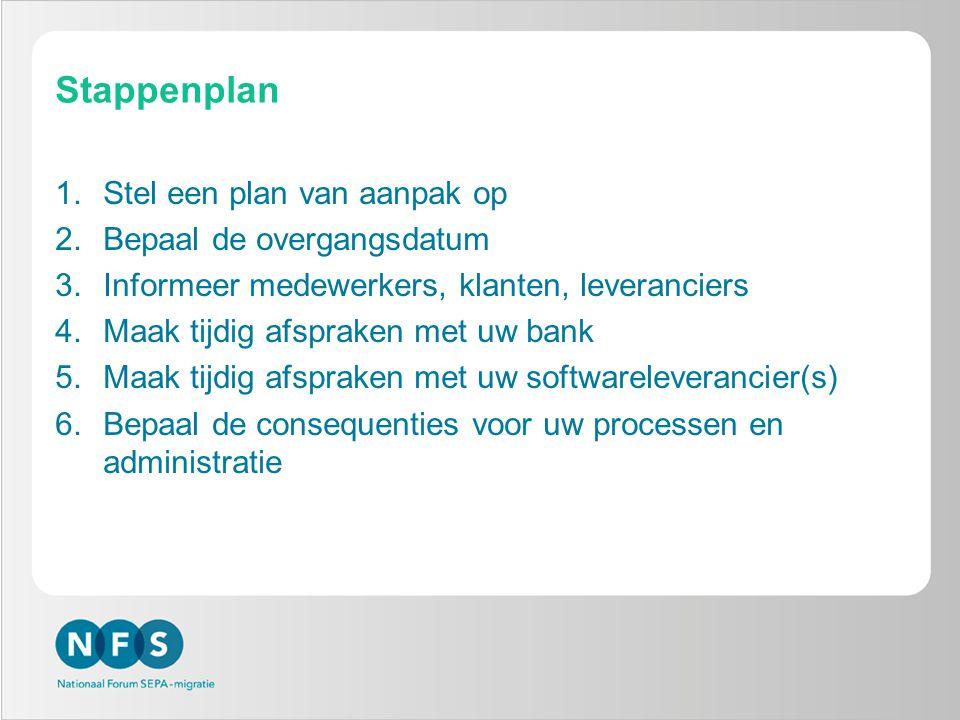Stappenplan 1.Stel een plan van aanpak op 2.Bepaal de overgangsdatum 3.Informeer medewerkers, klanten, leveranciers 4.Maak tijdig afspraken met uw ban