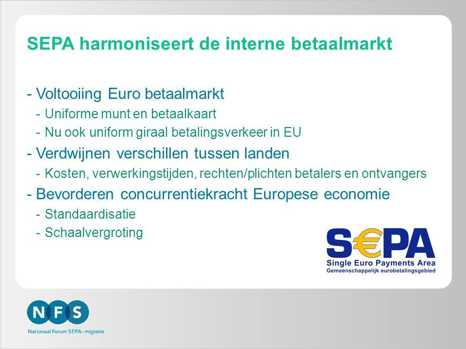 SEPA harmoniseert de interne betaalmarkt -Voltooiing Euro betaalmarkt -Uniforme munt en betaalkaart -Nu ook uniform giraal betalingsverkeer in EU -Ver
