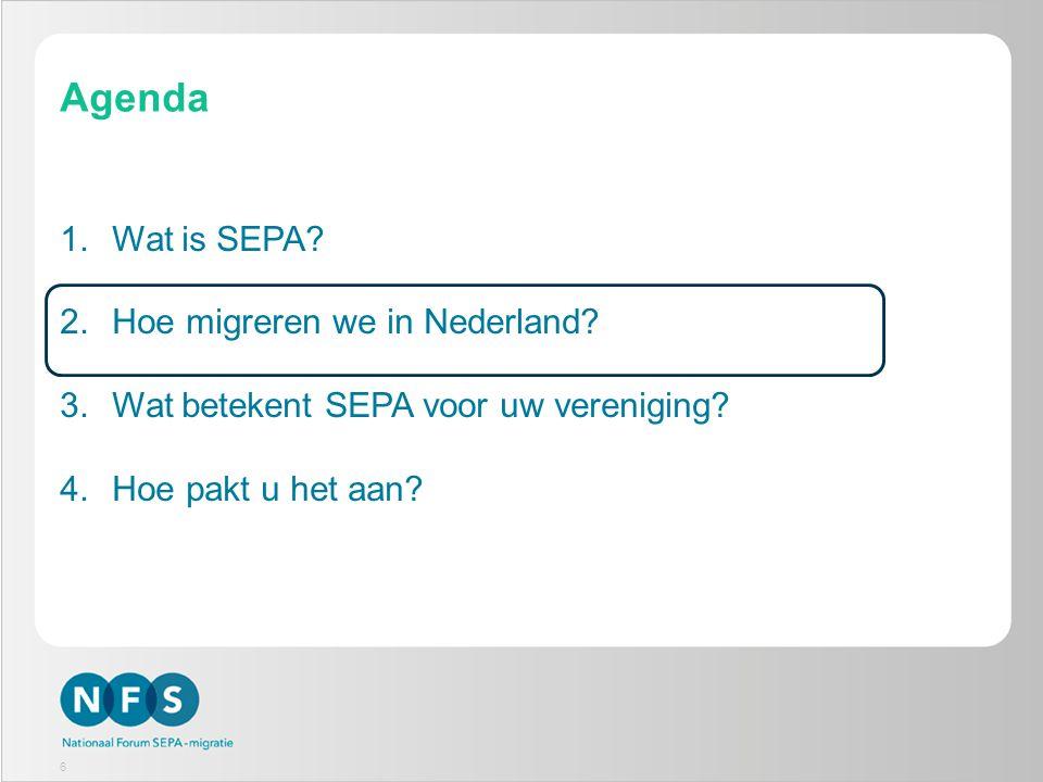 7 Nationaal Forum SEPA-migratie (NFS) Doel is een efficiënte en gecoördineerde migratie op basis van een goedgekeurd Nationaal SEPA-migratieplan Door: -Uitwisselen informatie en ervaringen -Coördinatie migratie -Signaleren en oplossen problemen -Monitoren migratie 7