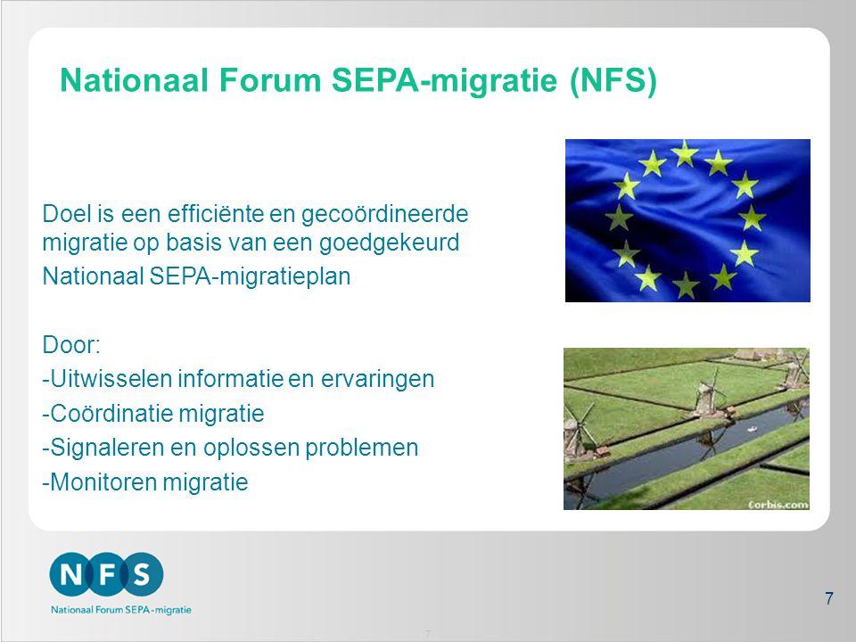Organisatie NFS Koepels Nationaal Forum voor de SEPA- migratie (NFS) Individuele partijen Programma- bureau Stakeholders via koepels vertegenwoordigd in nationale migratie Programma aangesloten op migratieactiviteiten koepels Task Force SEPA Nederland (TFSN) Bestuurlijk overleg Software- leveranciers Ondersteunende partijen Aanbieders/ Banken Gebruikers 8 8