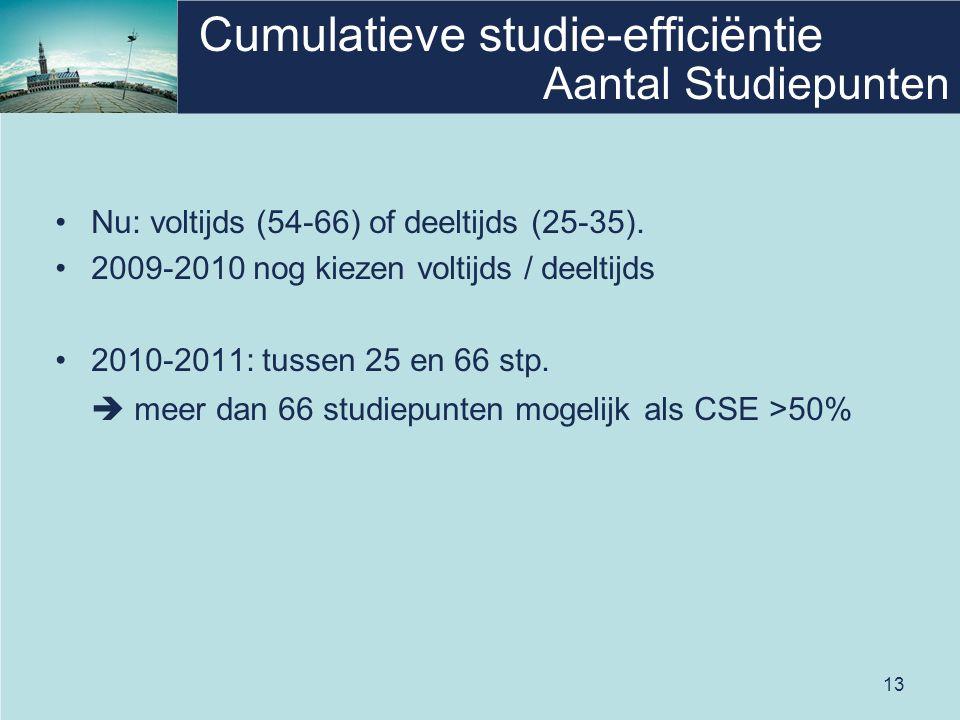 13 Cumulatieve studie-efficiëntie Nu: voltijds (54-66) of deeltijds (25-35). 2009-2010 nog kiezen voltijds / deeltijds 2010-2011: tussen 25 en 66 stp.
