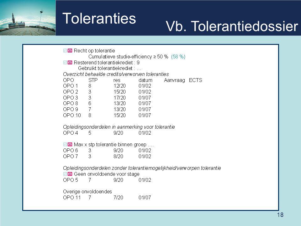 18 Toleranties Vb. Tolerantiedossier