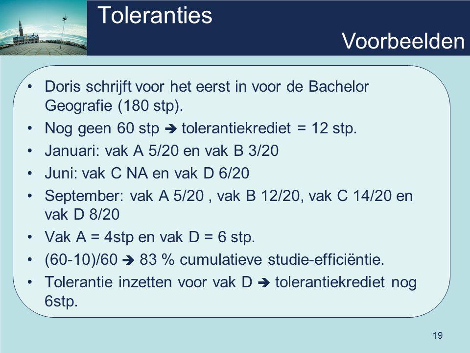 19 Toleranties Doris schrijft voor het eerst in voor de Bachelor Geografie (180 stp). Nog geen 60 stp  tolerantiekrediet = 12 stp. Januari: vak A 5/2