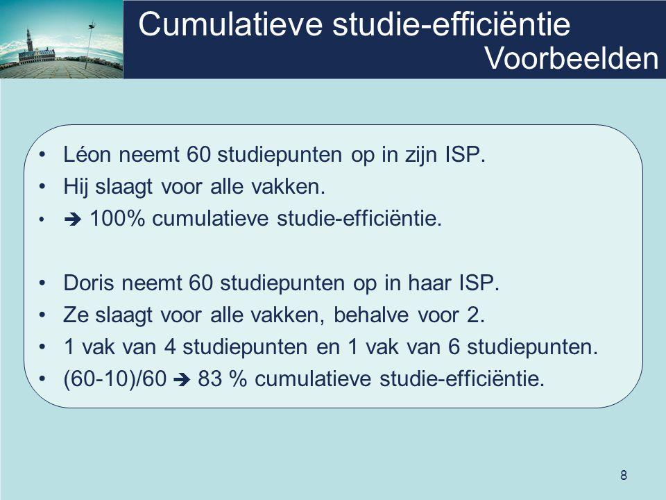 8 Cumulatieve studie-efficiëntie Léon neemt 60 studiepunten op in zijn ISP. Hij slaagt voor alle vakken.  100% cumulatieve studie-efficiëntie. Doris