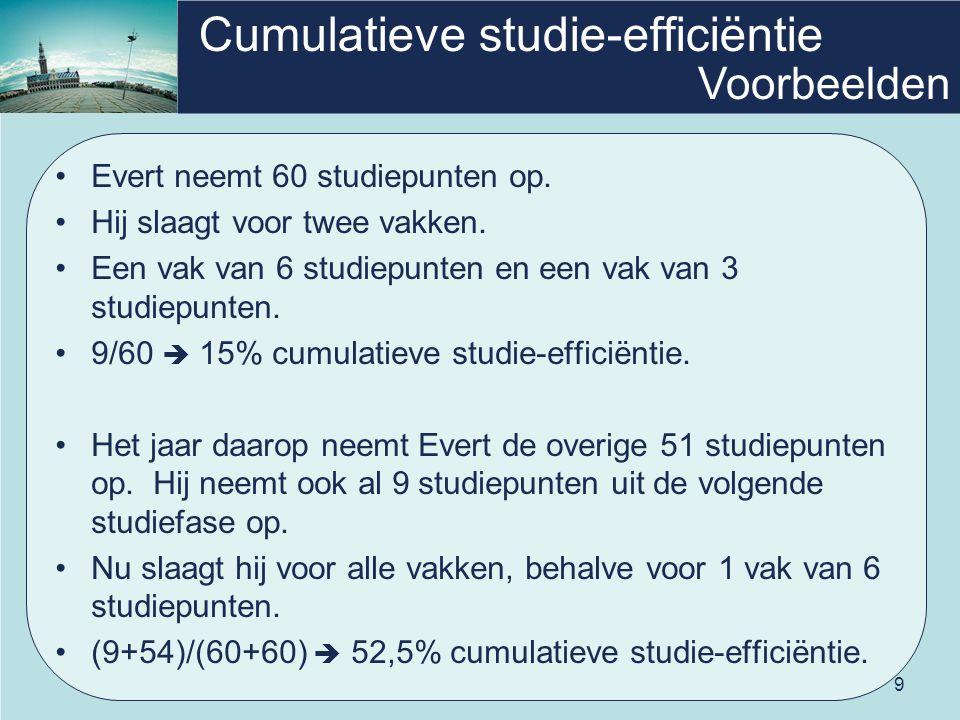 9 Cumulatieve studie-efficiëntie Evert neemt 60 studiepunten op. Hij slaagt voor twee vakken. Een vak van 6 studiepunten en een vak van 3 studiepunten
