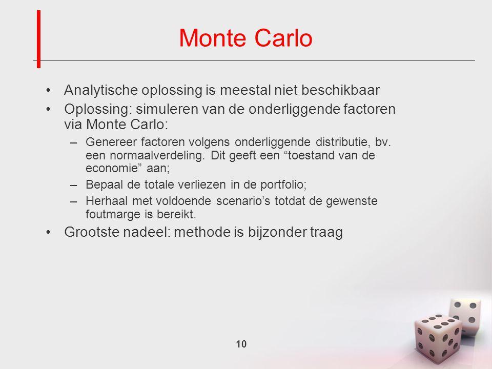 10 Monte Carlo Analytische oplossing is meestal niet beschikbaar Oplossing: simuleren van de onderliggende factoren via Monte Carlo: –Genereer factoren volgens onderliggende distributie, bv.