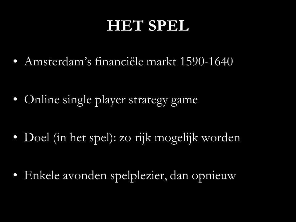 HET SPEL Amsterdam's financiële markt 1590-1640 Online single player strategy game Doel (in het spel): zo rijk mogelijk worden Enkele avonden spelplezier, dan opnieuw