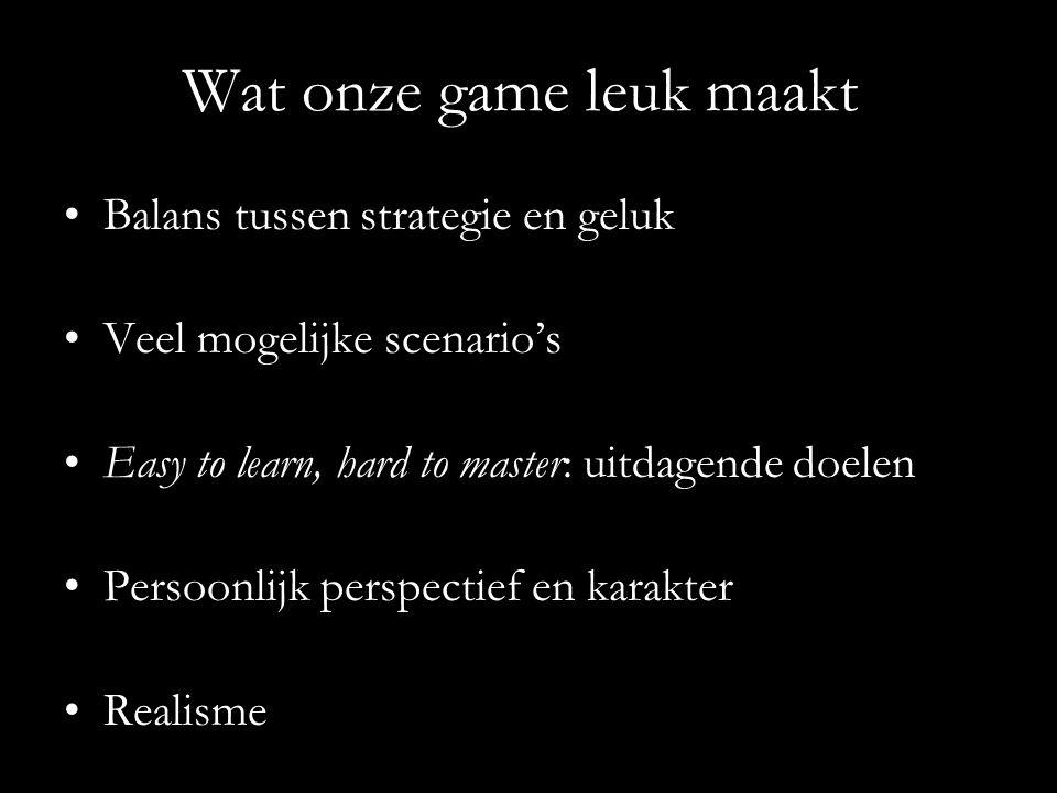 Wat onze game leuk maakt Balans tussen strategie en geluk Veel mogelijke scenario's Easy to learn, hard to master: uitdagende doelen Persoonlijk perspectief en karakter Realisme