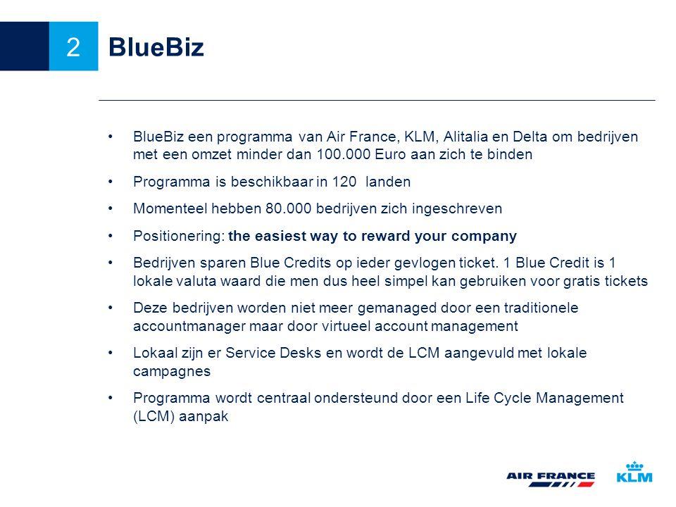 BlueBiz BlueBiz een programma van Air France, KLM, Alitalia en Delta om bedrijven met een omzet minder dan 100.000 Euro aan zich te binden Programma is beschikbaar in 120 landen Momenteel hebben 80.000 bedrijven zich ingeschreven Positionering: the easiest way to reward your company Bedrijven sparen Blue Credits op ieder gevlogen ticket.