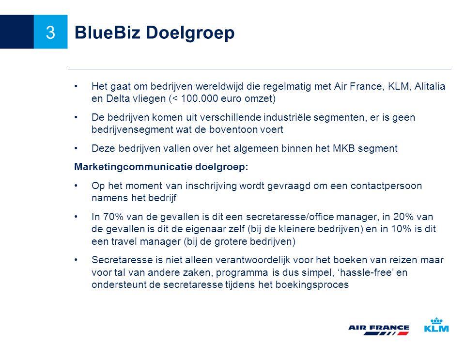BlueBiz Doelgroep Het gaat om bedrijven wereldwijd die regelmatig met Air France, KLM, Alitalia en Delta vliegen (< 100.000 euro omzet) De bedrijven komen uit verschillende industriële segmenten, er is geen bedrijvensegment wat de boventoon voert Deze bedrijven vallen over het algemeen binnen het MKB segment Marketingcommunicatie doelgroep: Op het moment van inschrijving wordt gevraagd om een contactpersoon namens het bedrijf In 70% van de gevallen is dit een secretaresse/office manager, in 20% van de gevallen is dit de eigenaar zelf (bij de kleinere bedrijven) en in 10% is dit een travel manager (bij de grotere bedrijven) Secretaresse is niet alleen verantwoordelijk voor het boeken van reizen maar voor tal van andere zaken, programma is dus simpel, 'hassle-free' en ondersteunt de secretaresse tijdens het boekingsproces 3