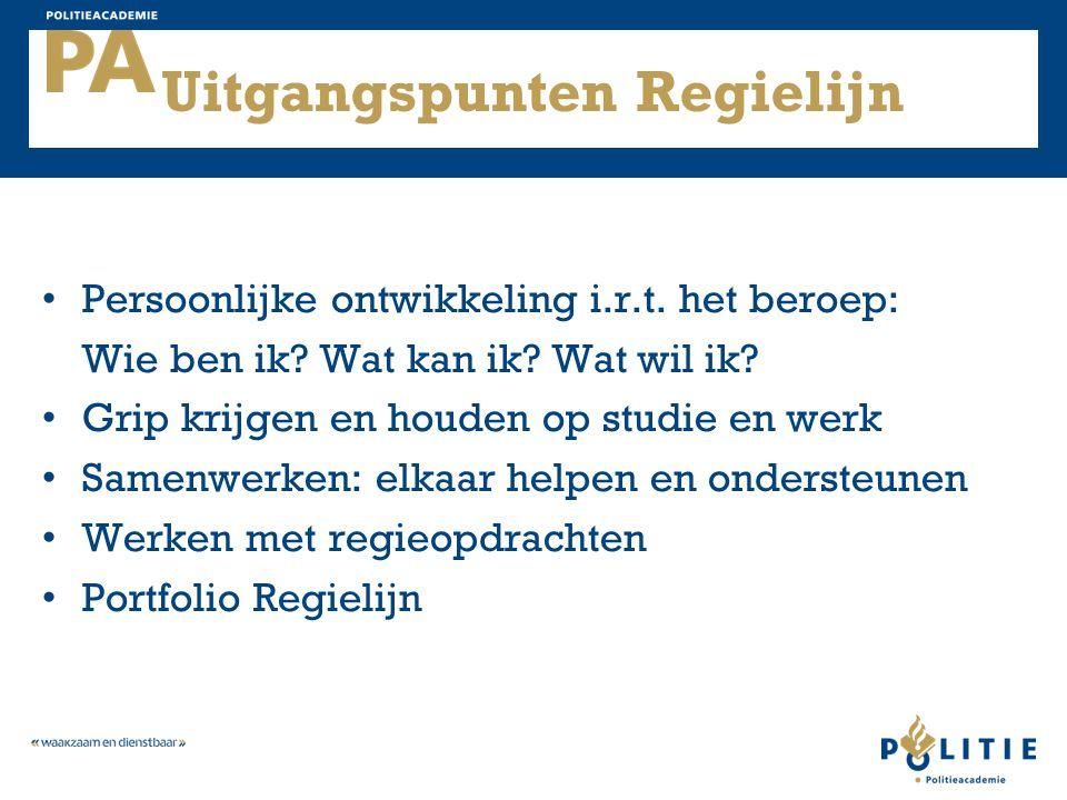 Uitgangspunten Regielijn Persoonlijke ontwikkeling i.r.t.