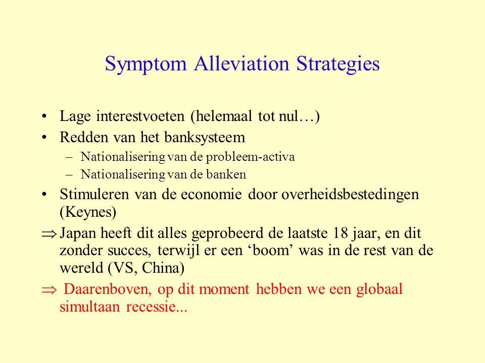 Symptom Alleviation Strategies Lage interestvoeten (helemaal tot nul…) Redden van het banksysteem –Nationalisering van de probleem-activa –Nationalise