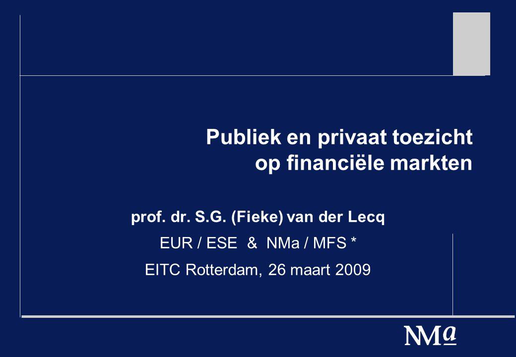 Organisatie publiek toezicht: de financiële toezichtdriehoek Sectorspecifieke toezichthouders: DNB en AFM Generieke toezichthouders: vele.