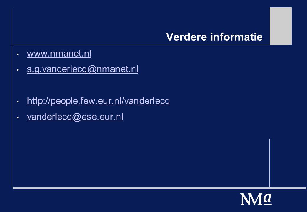 Verdere informatie www.nmanet.nl s.g.vanderlecq@nmanet.nl http://people.few.eur.nl/vanderlecq vanderlecq@ese.eur.nl