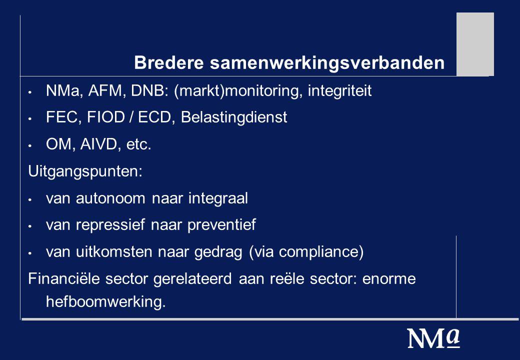 Bredere samenwerkingsverbanden NMa, AFM, DNB: (markt)monitoring, integriteit FEC, FIOD / ECD, Belastingdienst OM, AIVD, etc.