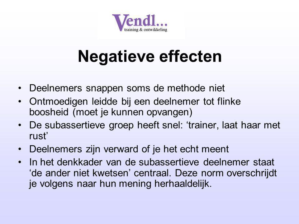 Negatieve effecten Deelnemers snappen soms de methode niet Ontmoedigen leidde bij een deelnemer tot flinke boosheid (moet je kunnen opvangen) De subas