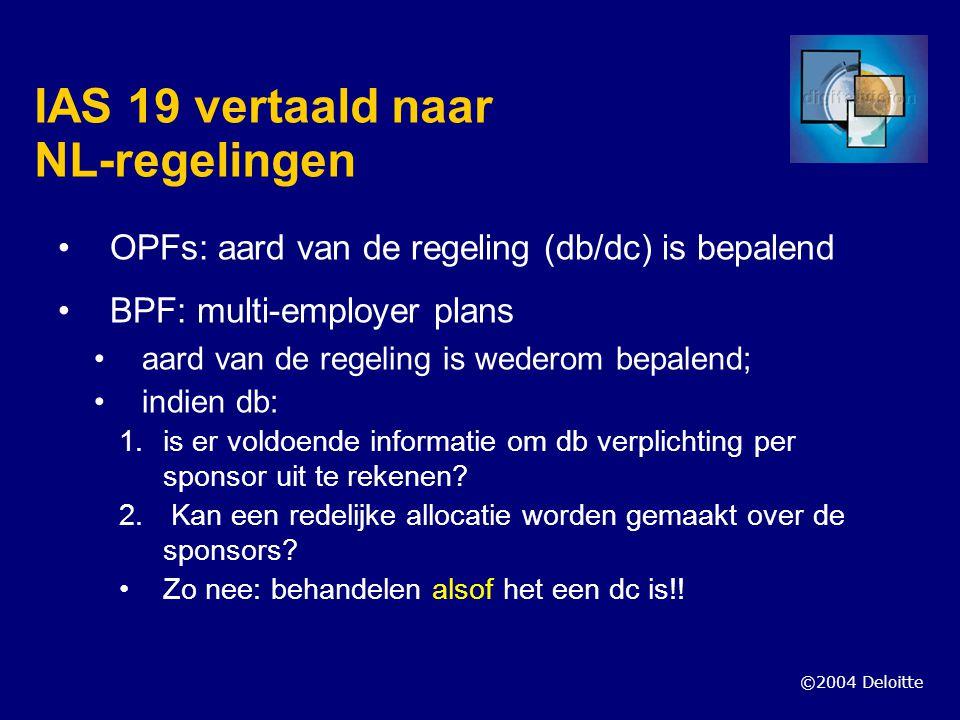 ©2004 Deloitte IAS 19 vertaald naar NL-regelingen OPFs: aard van de regeling (db/dc) is bepalend BPF: multi-employer plans aard van de regeling is wed