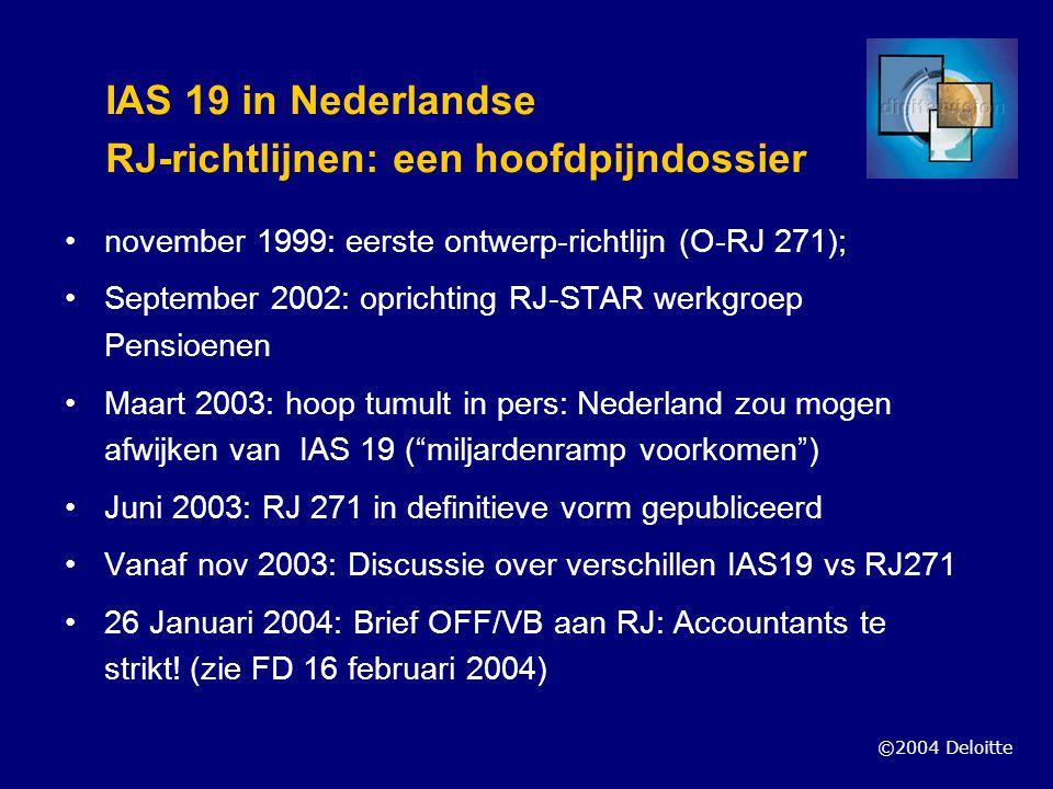 ©2004 Deloitte IAS 19 in Nederlandse RJ-richtlijnen: een hoofdpijndossier november 1999: eerste ontwerp-richtlijn (O-RJ 271); September 2002: oprichti