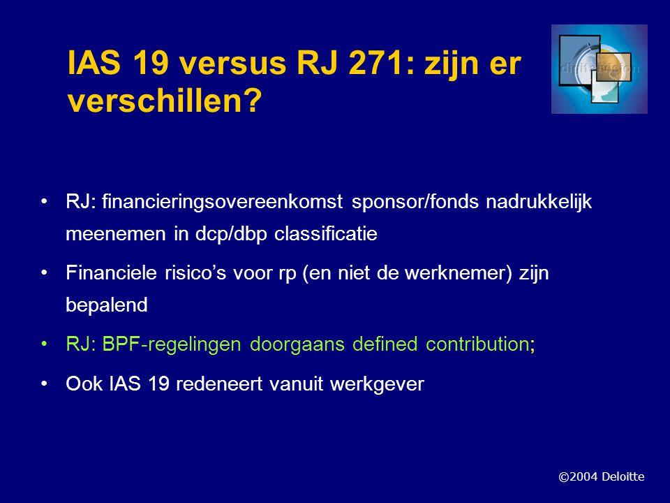 ©2004 Deloitte IAS 19 versus RJ 271: zijn er verschillen? RJ: financieringsovereenkomst sponsor/fonds nadrukkelijk meenemen in dcp/dbp classificatie F