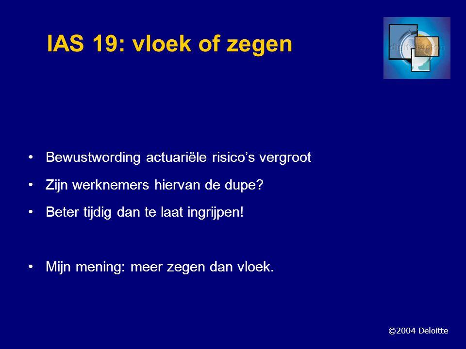 ©2004 Deloitte IAS 19: vloek of zegen Bewustwording actuariële risico's vergroot Zijn werknemers hiervan de dupe? Beter tijdig dan te laat ingrijpen!