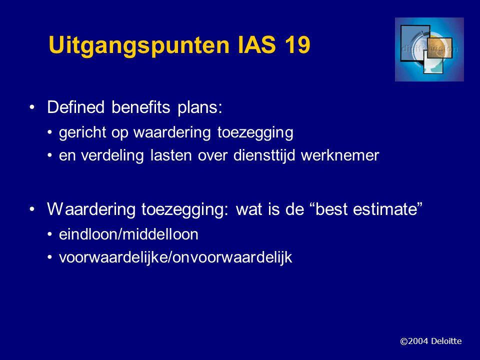©2004 Deloitte Uitgangspunten IAS 19 Defined benefits plans: gericht op waardering toezegging en verdeling lasten over diensttijd werknemer Waardering