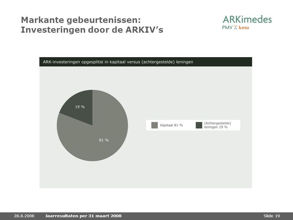 Slide 1928.8.2008Jaarresultaten per 31 maart 2008 Markante gebeurtenissen: Investeringen door de ARKIV's