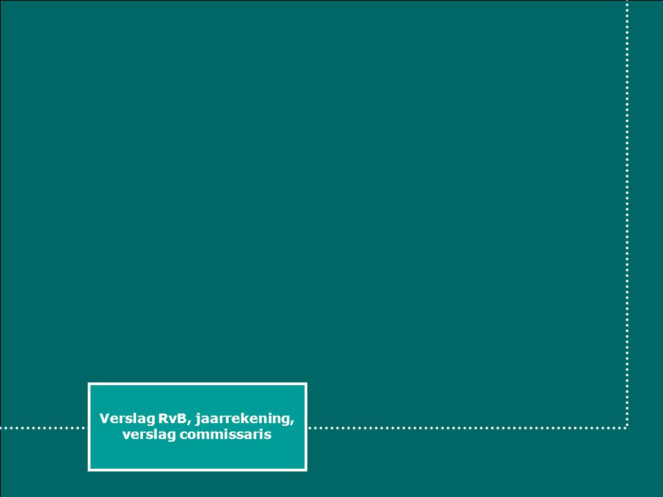 Verslag RvB, jaarrekening, verslag commissaris