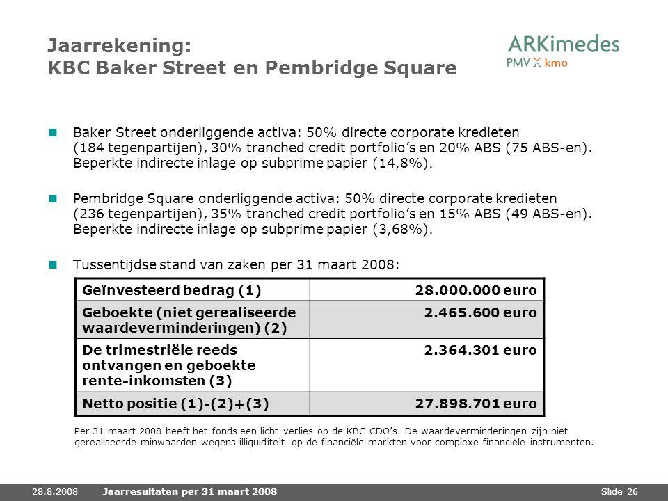 Slide 2628.8.2008Jaarresultaten per 31 maart 2008 Jaarrekening: KBC Baker Street en Pembridge Square Baker Street onderliggende activa: 50% directe co
