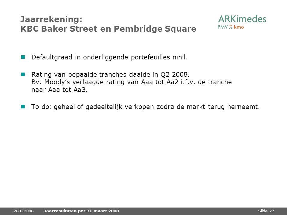 Slide 2728.8.2008Jaarresultaten per 31 maart 2008 Jaarrekening: KBC Baker Street en Pembridge Square Defaultgraad in onderliggende portefeuilles nihil