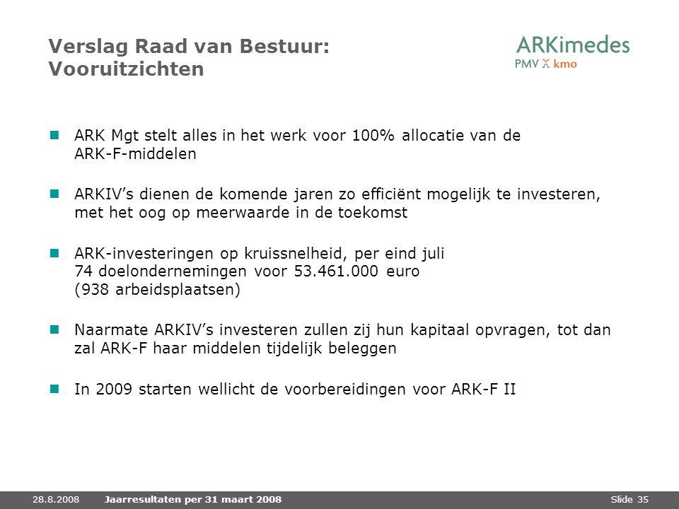 Slide 3528.8.2008Jaarresultaten per 31 maart 2008 Verslag Raad van Bestuur: Vooruitzichten ARK Mgt stelt alles in het werk voor 100% allocatie van de