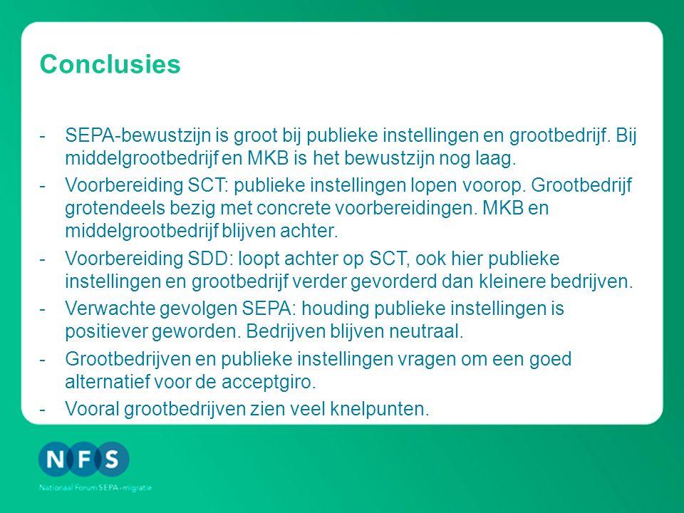 Conclusies -SEPA-bewustzijn is groot bij publieke instellingen en grootbedrijf.