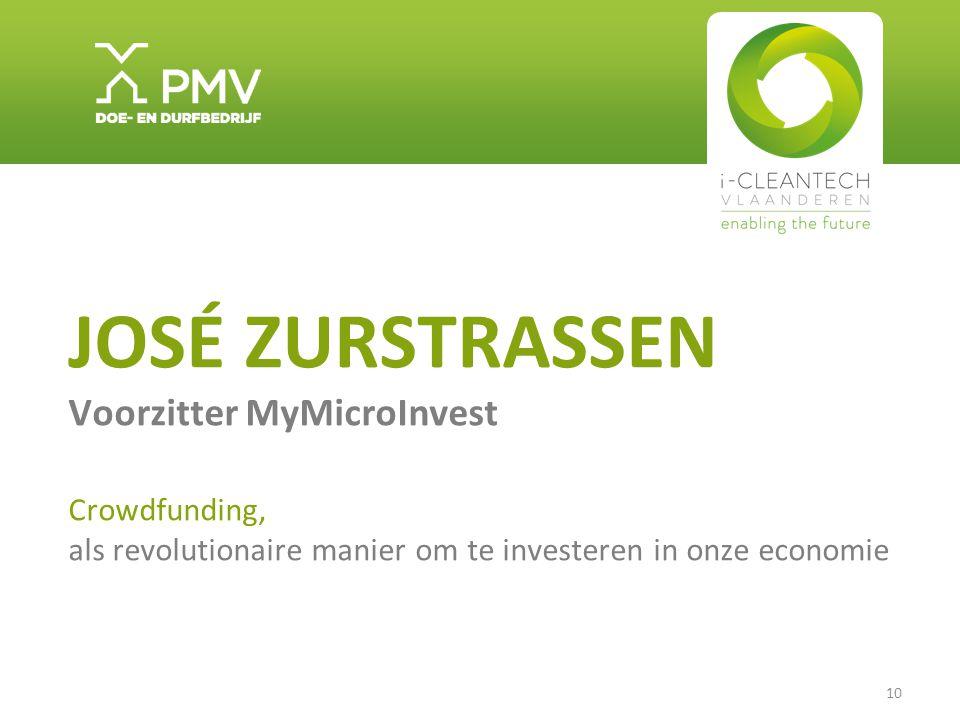 10 JOSÉ ZURSTRASSEN Voorzitter MyMicroInvest Crowdfunding, als revolutionaire manier om te investeren in onze economie