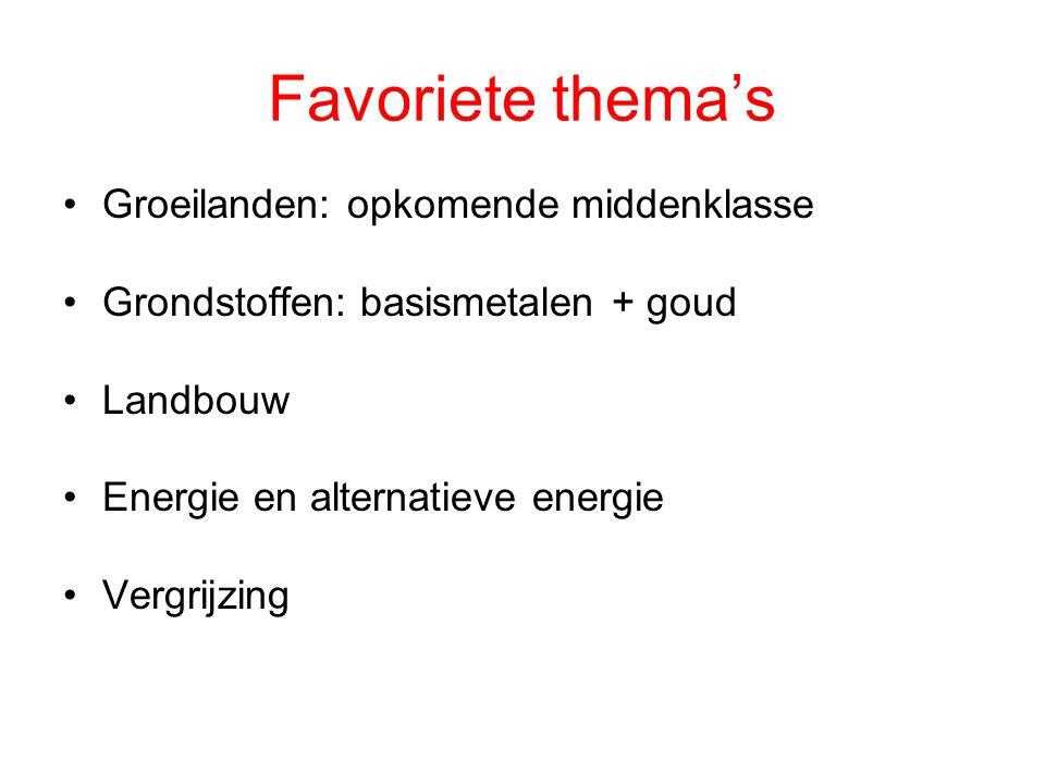 Favoriete thema's Groeilanden: opkomende middenklasse Grondstoffen: basismetalen + goud Landbouw Energie en alternatieve energie Vergrijzing