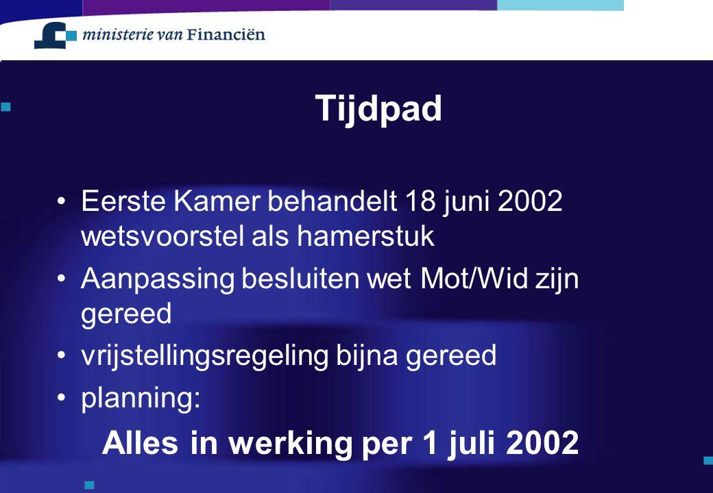 Tijdpad Eerste Kamer behandelt 18 juni 2002 wetsvoorstel als hamerstuk Aanpassing besluiten wet Mot/Wid zijn gereed vrijstellingsregeling bijna gereed