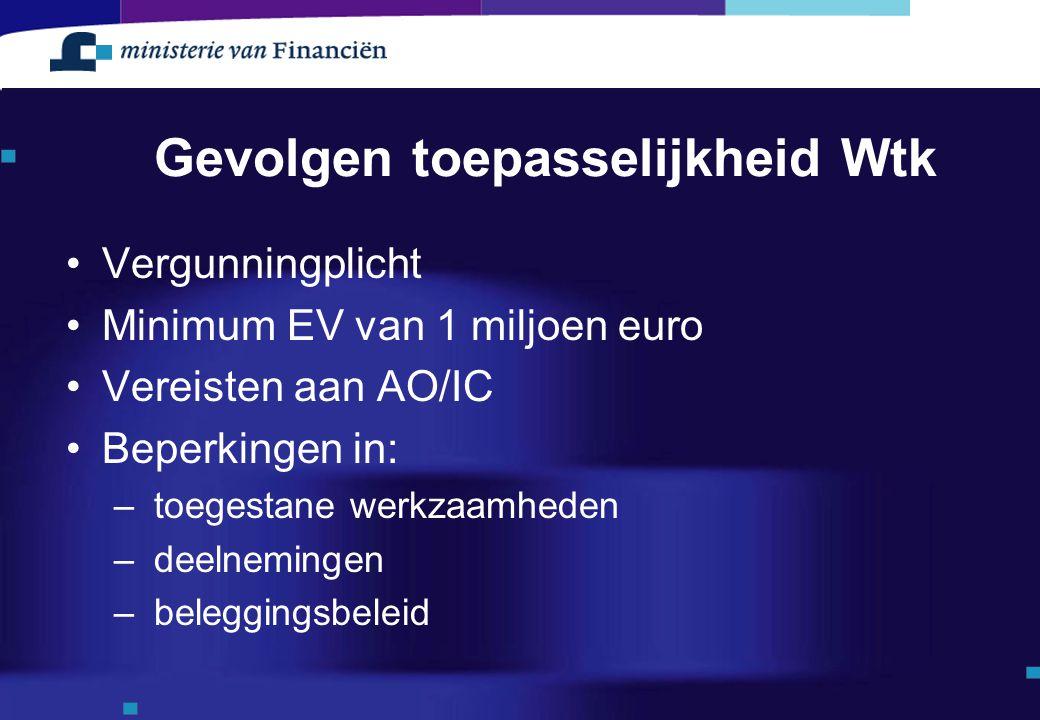 Gevolgen toepasselijkheid Wtk Vergunningplicht Minimum EV van 1 miljoen euro Vereisten aan AO/IC Beperkingen in: – toegestane werkzaamheden – deelnemi