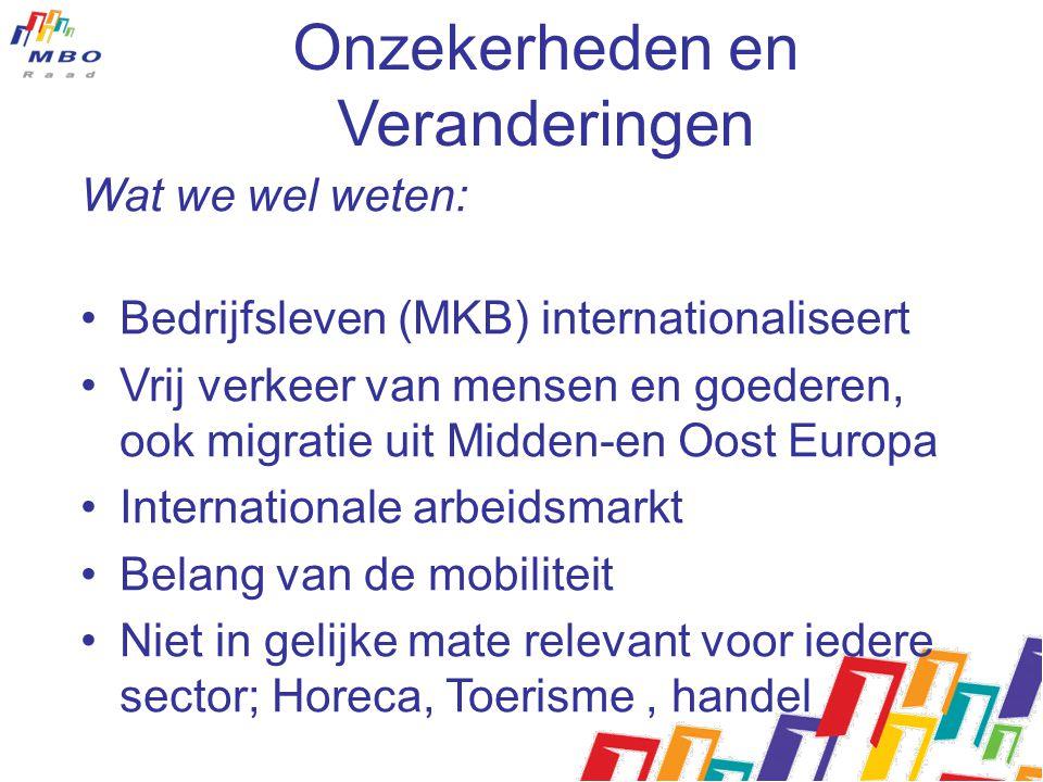 Onzekerheden en Veranderingen Wat we wel weten: Bedrijfsleven (MKB) internationaliseert Vrij verkeer van mensen en goederen, ook migratie uit Midden-e