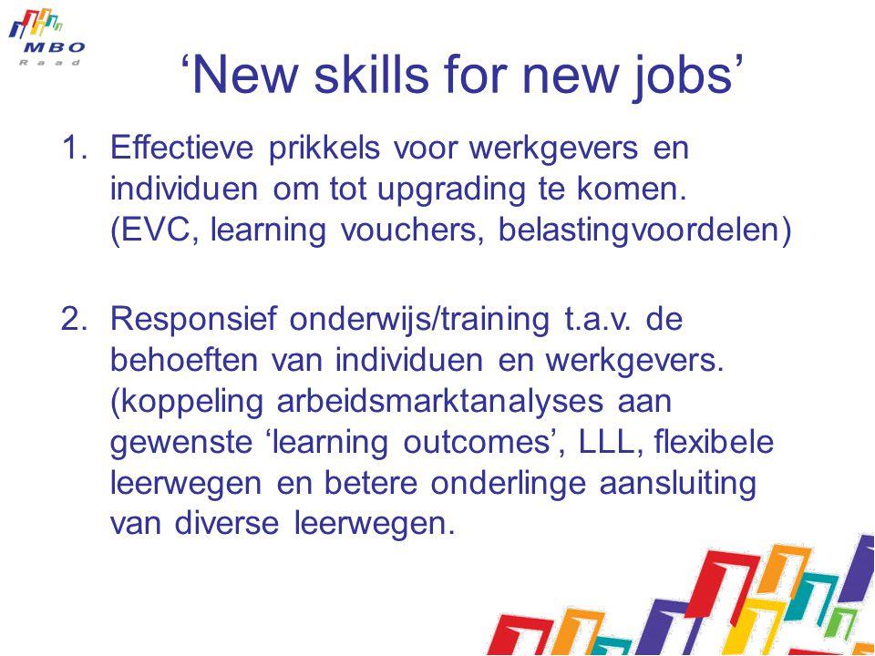 'New skills for new jobs' 1.Effectieve prikkels voor werkgevers en individuen om tot upgrading te komen. (EVC, learning vouchers, belastingvoordelen)