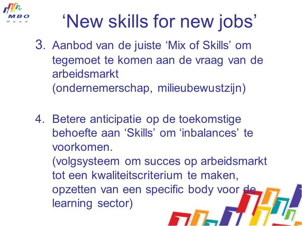 'New skills for new jobs' 3.Aanbod van de juiste 'Mix of Skills' om tegemoet te komen aan de vraag van de arbeidsmarkt (ondernemerschap, milieubewustz