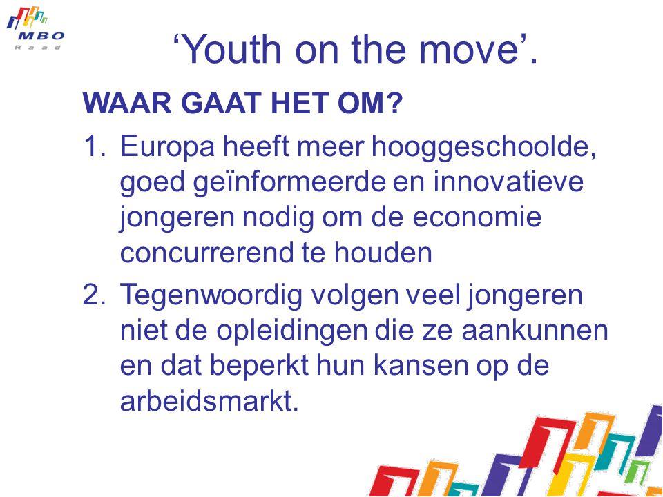 'Youth on the move'. WAAR GAAT HET OM? 1.Europa heeft meer hooggeschoolde, goed geïnformeerde en innovatieve jongeren nodig om de economie concurreren